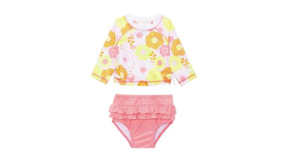 First Impressions Baby Girls 2-Pc. Floral-Print Rash Guard Swimsuit