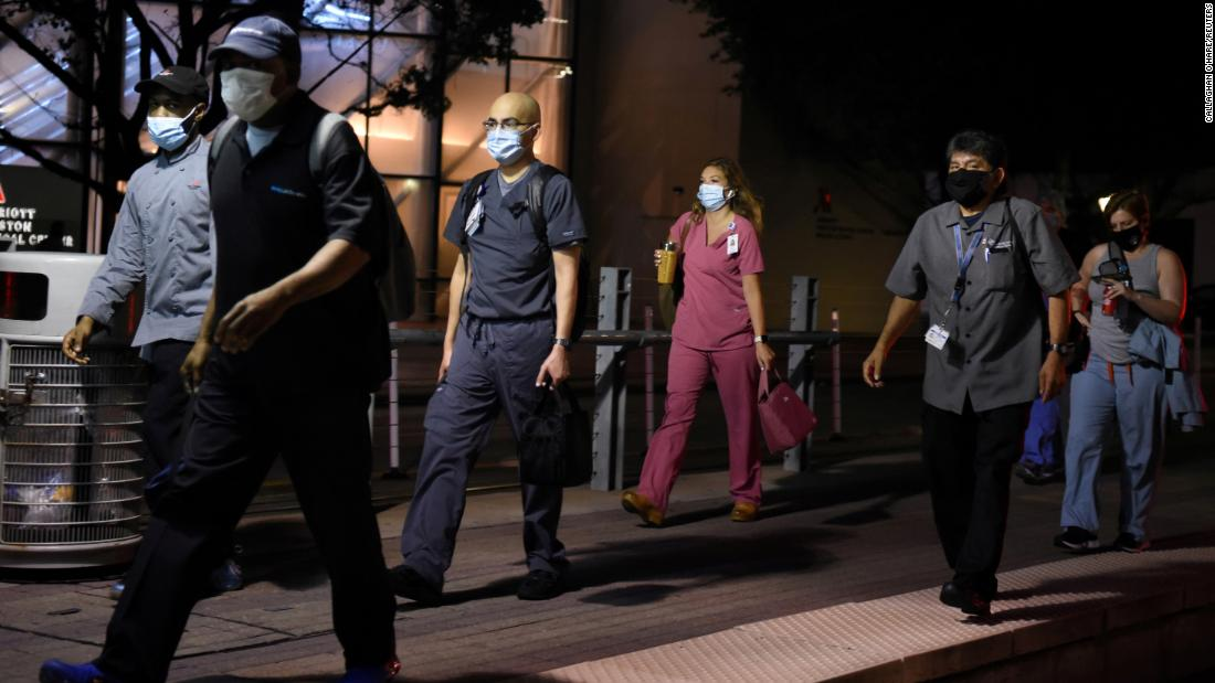 "Health-care workers walk through the Texas Medical Center during a shift change in Houston on July 8. Coronavirus cases <a href=""https://www.cnn.com/interactive/2020/health/coronavirus-us-maps-and-cases/"" target=""_blank"">have accelerated across much of the South and Southwest </a>in recent weeks. <a href=""https://www.cnn.com/2020/07/07/politics/florida-texas-governors-coronavirus/index.html"" target=""_blank"">Texas crossed the 200,000-case threshold</a> on July 6 — just 17 days after it had reached 100,000 cases. Harris County, which encompasses Houston and is the most populous county in Texas, <a href=""https://www.cnn.com/2020/07/08/politics/houston-texas-republican-convention-contract/index.html"" target=""_blank"">led the state in confirmed cases.</a>"