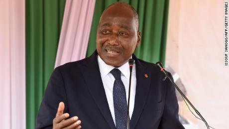 Prime Minister Amadou Gon Coulibaly speaks during an event on May 9, 2019.