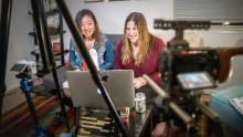 "Yue Xu and Julie Krafchick host the ""Dateable"" podcast."