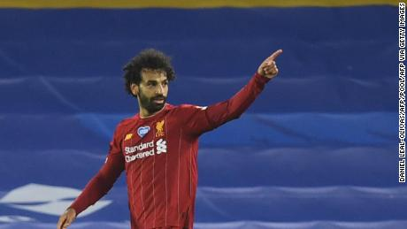 Mohamed Salah celebrates scoring his second goal in Liverpool's win over Brighton.