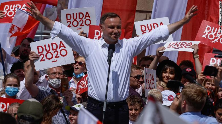 President Andrzej Duda delivers a speech during a campaign rally on July 4 in Wroclaw, Poland.