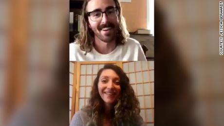 Jessica Gerhardt and her new partner -- they have not labeled the relationship quite yet -- smile during one of the many video chats they had before meeting in person.