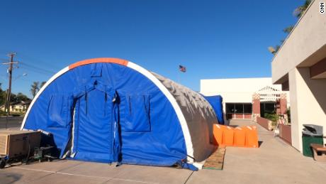 Air conditioning units keep the tent cool against the California sun.