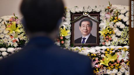 A photograph of Park Won-soon displayed at a mortuary in Seoul on July 10, 2020.