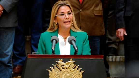 Bolivian interim President Jeanine Anez gives a speech during the celebration of Plurinational State day at Palacio Quemado, in La Paz, on January 22, 2020. - Bolivian interim President instructed on Wednesday her ministers of Defense and Government to prepare a plan to protect the elections of May 3, after the October elections that were annulled due to irregularities. (Photo by JORGE BERNAL / AFP) (Photo by JORGE BERNAL/AFP via Getty Images)