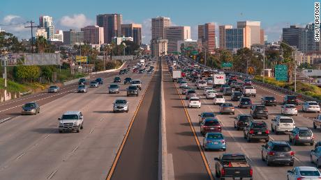 San Diego, USA, 2019. Heavy traffic on a highway with a lot of cars. Rush hour on freeway