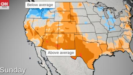 High heat in the south of the country is in contrast to cooler temperatures in the northwest.