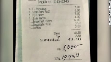 The $1,000 tip left for the staff at The Starving Artist.