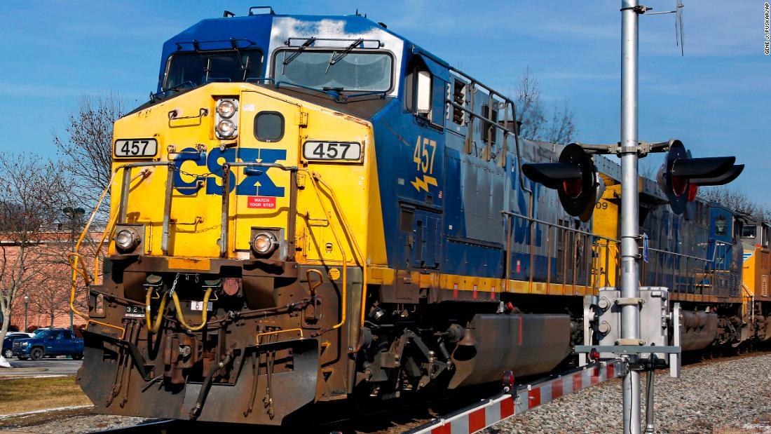 A CSX freight train passes through Homestead, Pennsylvania, on February 12, 2018.