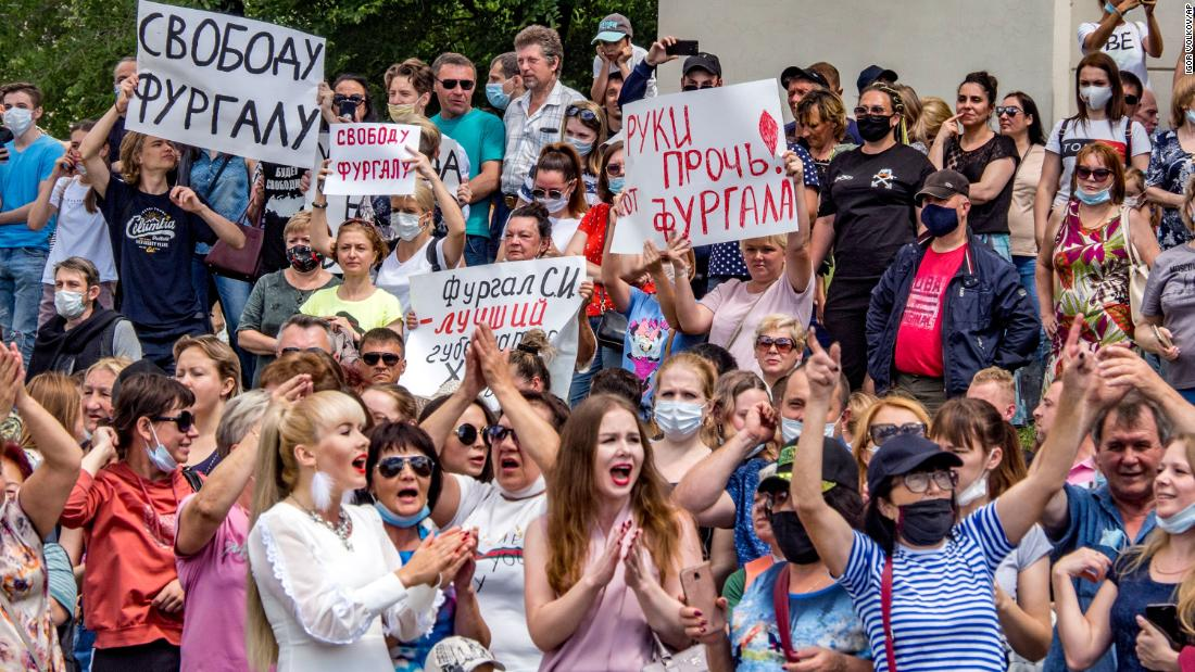 Protests erupt in Russia's Far East after arrest of governor over years-old murders