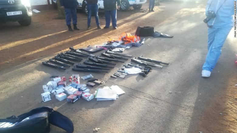 An image posted to Twitter by South African police shows firearms seized in the operation on Saturday.
