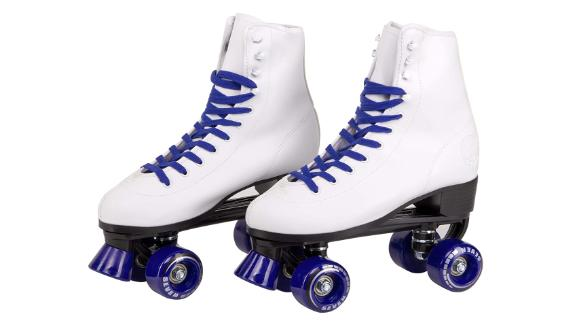 Womens Roller Skates PU Leather High-top Roller Skates Four-Wheel Roller Skates Shiny Roller Skates for Girls Unisex