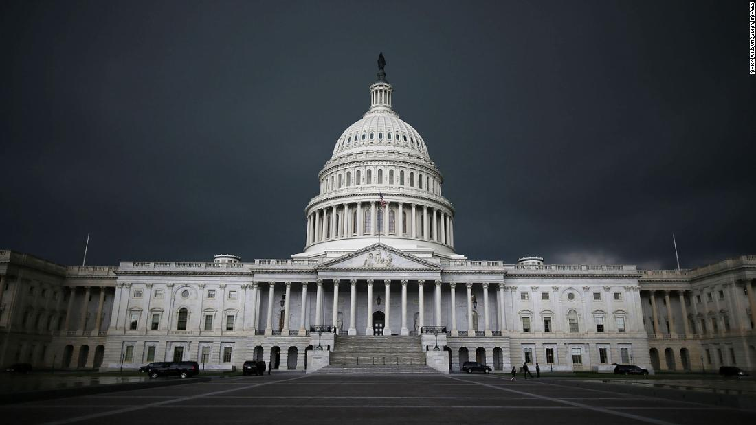 Storm clouds fill the sky over the US Capitol Building.