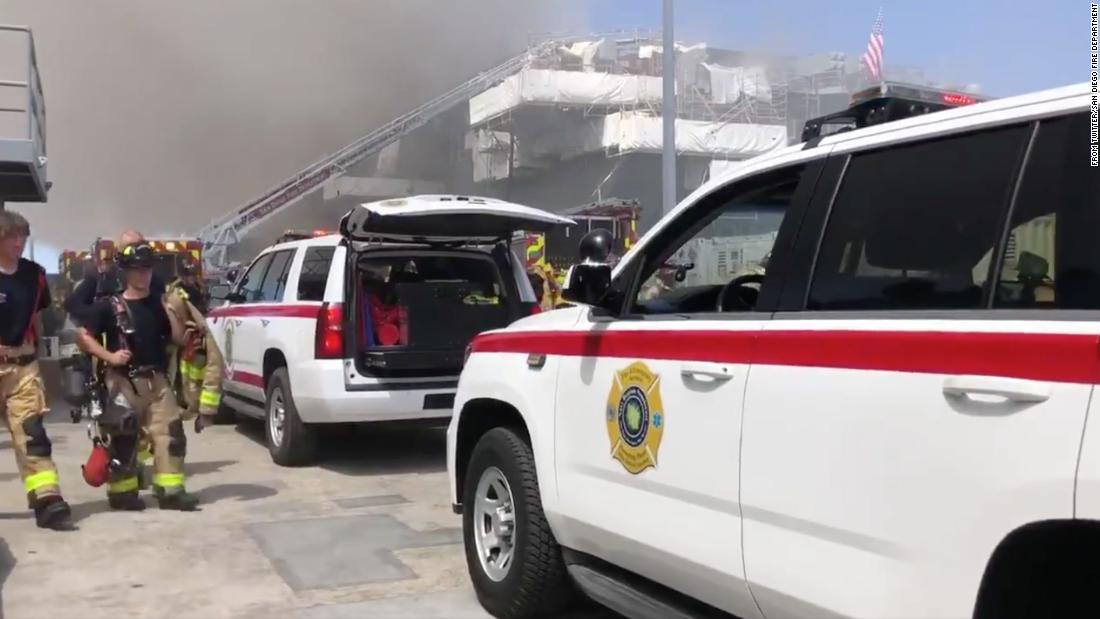 Explosion on San Diego naval ship injures sailors and causes a three-alarm fire