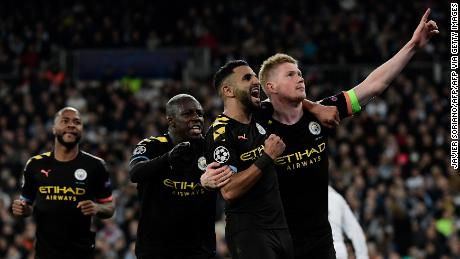 Kevin De Bruyne (right) celebrates scoring for City against Real Madrid in the Champions League earlier this season.