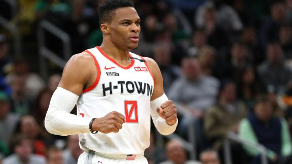 BOSTON, MASSACHUSETTS - FEBRUARY 29: Russell Westbrook #0 of the Houston Rockets reacts during the second half of the game against the Boston Celtics  at TD Garden on February 29, 2020 in Boston, Massachusetts. The Rockets defeat the Celtics 111-110 in overtime.  (Photo by Maddie Meyer/Getty Images)