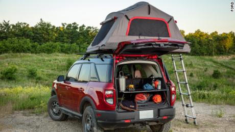 The Bronco Sport has standard rooftop cargo rails that work as tie-down points for rooftop tents.