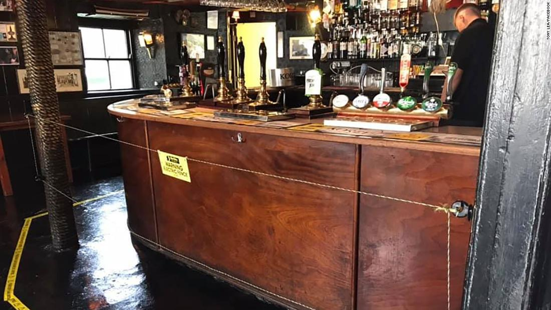 Jonny McFadden, who runs the Star Inn in St Just, Cornwall, told CNN he installed the electric fence in front of his bar for social distancing purposes.