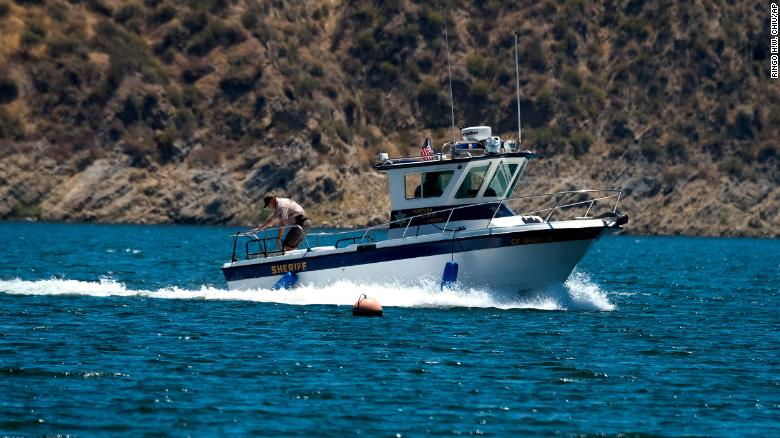 A boat of the Ventura County Sheriff's Office is seen, Monday, July 13, 2020 in Lake Piru, Calif. Naya Rivera's body was found in the lake six days after she went missing.