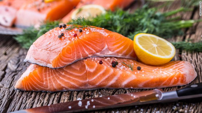 Good-for-you proteins include omega-3 rich fish like salmon.