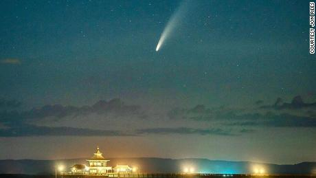 The comet captured on Sunday, July 12, at Clevedon Pier, England by Jon Rees.