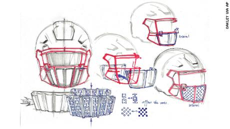 This image provided by Oakley shows sketches of its new face shield.