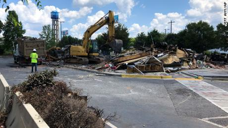 Demolition of the Wendy's restaurant where Rayshard Brooks was fatally shot by police began Tuesday morning.