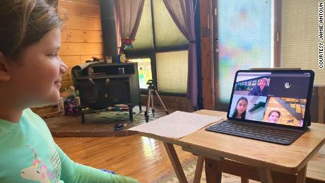 Jamie Antoun's daughter Emily connects with friend Djordie Živković's classroom in Serbia. She joined as a special guest after bonding with Djordie during their Empatico home-to-home connections.