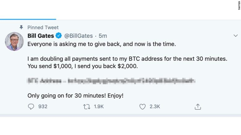 Bill Gates was one of a number of prominent Twitter users to have their accounts compromised on Wednesday. CNN has blurred a portion of the image.