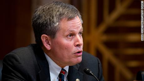 WASHINGTON, DC - MAY 15: U.S. Sen. Steve Daines (R-MT) speaks at a Financial Services and General Government Subcommittee hearing, with U.S. Secretary of Treasury Steve Mnuchin, on the proposed budget estimates and justification for FY2020 for the Treasury Department at the U.S. Capitol on May 15, 2019 in Washington, DC. In the hearing, Mnuchin indicated that the United States is close to resolving steel and aluminum tariffs that were applied to Canada and Mexico. (Photo by Anna Moneymaker/Getty Images)