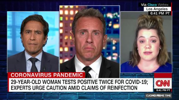 Shelby Hedgecock speaks with Chris Cuomo and Dr. Sanjay Gupta about testing positive for coronavirus twice.