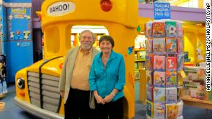 """Joanna Cole (right) pictured with Bruce Degen, who illustrated """"The Magic School Bus"""" books."""