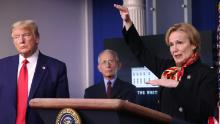 Dr. Birx speaks while flanked by President Donald Trump and Dr. Anthony Fauci during the daily coronavirus task force briefing at the White House on March 31, 2020 in Washington, DC.