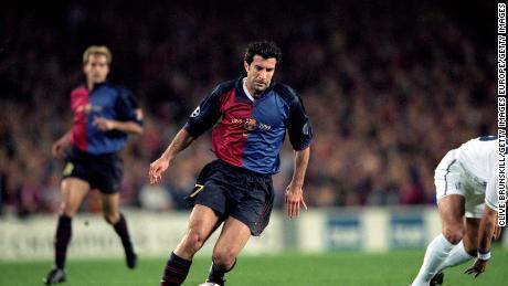 Figo was Barca's captain and star player.