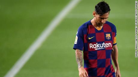 """Messi cut a dejected figure after a shock home loss to Osasuna in Barcelona's penultimate league match of the season, after which he labeled the side """"weak""""."""