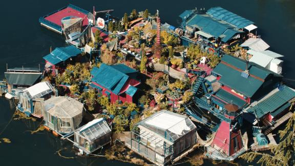 Welcome to Freedom Cove, a sustainable island fortress floating off the coast of Vancouver Island.
