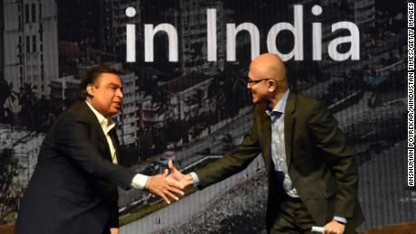 Microsoft CEO Satya Nadella with Mukesh Ambani during the Microsoft Future Decoded Summit on February 24, 2020 in Mumbai, India.