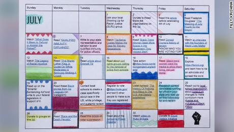 The teenager's calendar includes articles, documentaries, and ways to take action against social injustice.