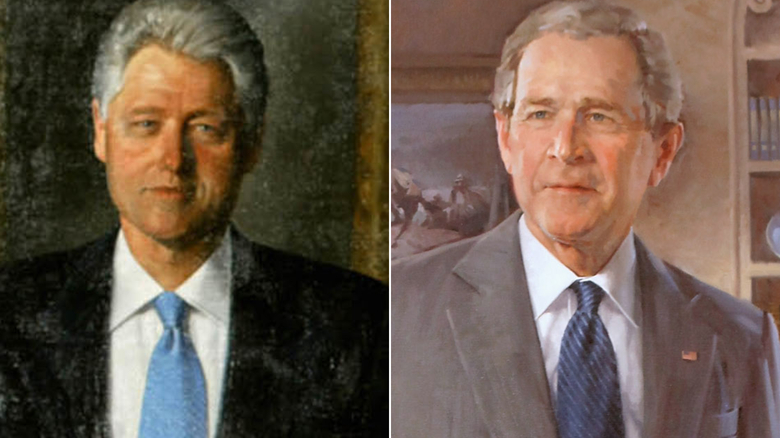 Bush and Clinton portraits are back on display in White House's Grand Foyer