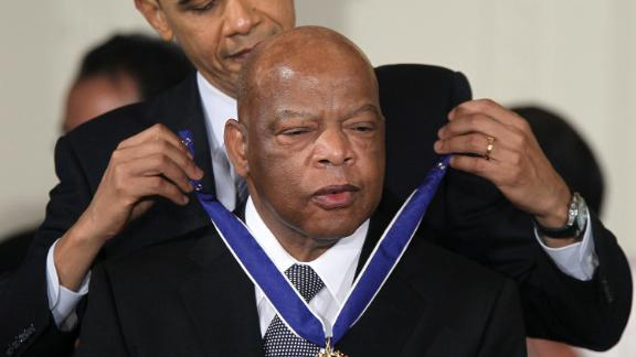 WASHINGTON, DC - FEBRUARY 15:  U.S. Rep. John Lewis (D-GA) (R) is presented with the 2010 Medal of Freedom by President Barack Obama during an East Room event at the White House February 15, 2011 in Washington, DC. Obama presented the medal, the highest honor awarded to civilians, to twelve pioneers in sports, labor, politics and arts.  (Photo by Alex Wong/Getty Images)