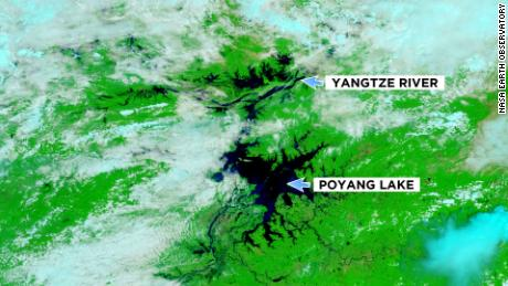 Inundaciones en China como lo muestra la NASA el 14 de julio de 2020.