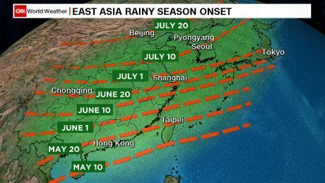 La progresión de la temporada anual de monzones de Asia Oriental