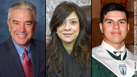 Roy Den Hollander is suspected of fatally shooting Daniel Anderl (right) and injuring Mark Anderl (left) at the New Jersey home of US District Court Judge Esther Salas (center).