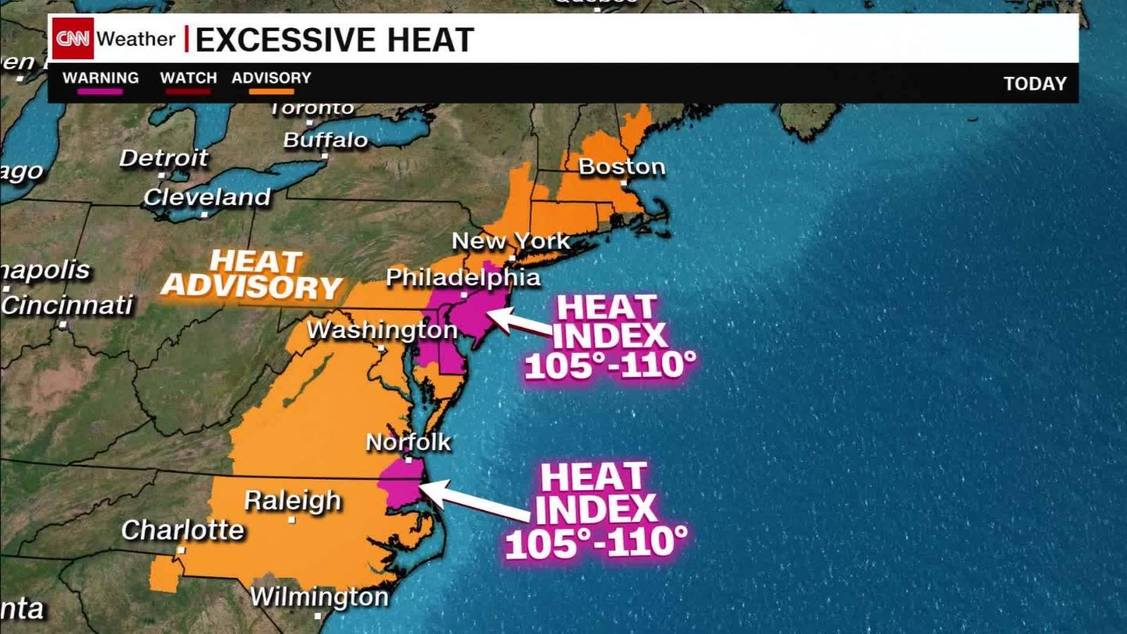 Weather Forecast Feeling Like Up To 110 Along The East Coast Monday Cnn Video
