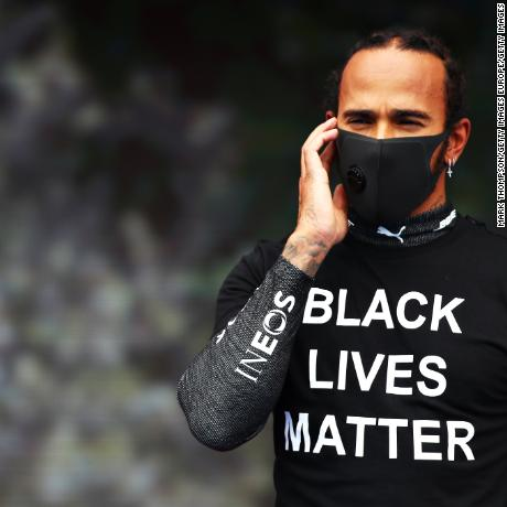 BUDAPEST, HUNGARY - JULY 19: Lewis Hamilton of Great Britain and Mercedes GP is seen wearing a black lives matter t-shirt prior to the Formula One Grand Prix of Hungary at Hungaroring on July 19, 2020 in Budapest, Hungary. (Photo by Mark Thompson/Getty Images)