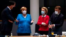 Dutch Prime Minister Mark Rutte, German Chancellor Angela Merkel, European Commission President Ursula von der Leyen and French President Emmanuel Macron at the Brussels summit.