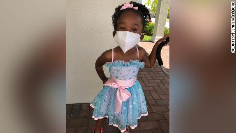 Ava Elmore, 2.5-year-old daughter, is a mask-wearing pro.