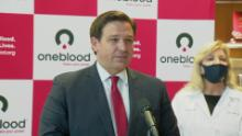 Florida Governor Ron DeSantis speaks during a press conference in July.