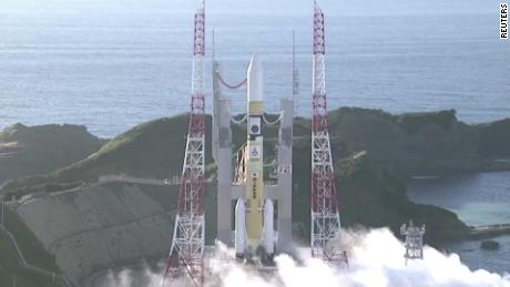 A screenshot of the UAE's Mars probe taking off from Japan.